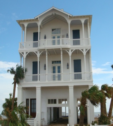 """After Ike"" photograph of home in Galveston Island's Beachtown"