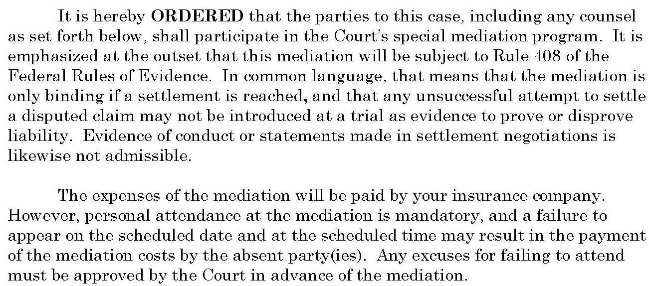 Pages from pro se plaintiff amended mediation