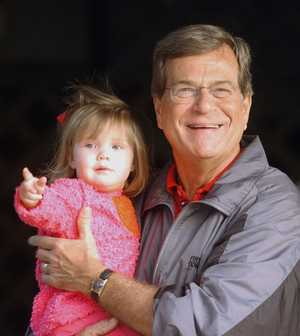 Shields Armstrong with her grandfather Trent Lott, Christmas 2002 photo courtesy Sun Herald