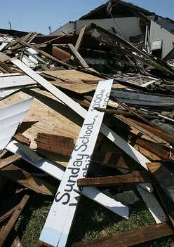 Church destroyed by tornado. (Clarion Ledger)