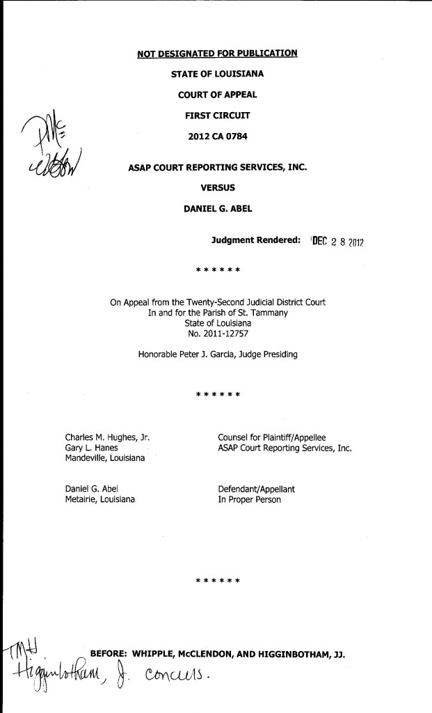 2012 CA 0784 Decision Appeal ASAP CRS v Abel