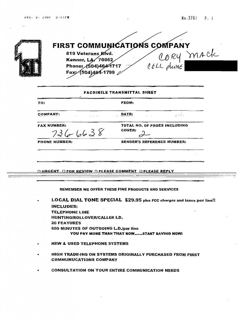 First Communications Property Tax