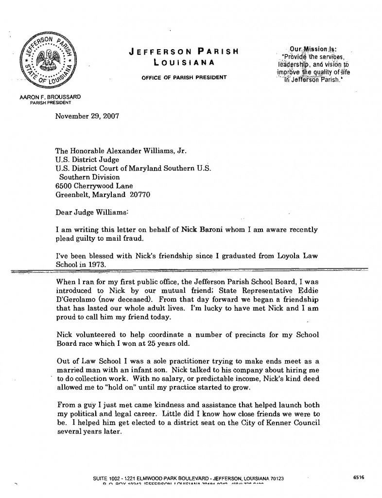 Letter to Judge Williams on behalf of Nick Baroni