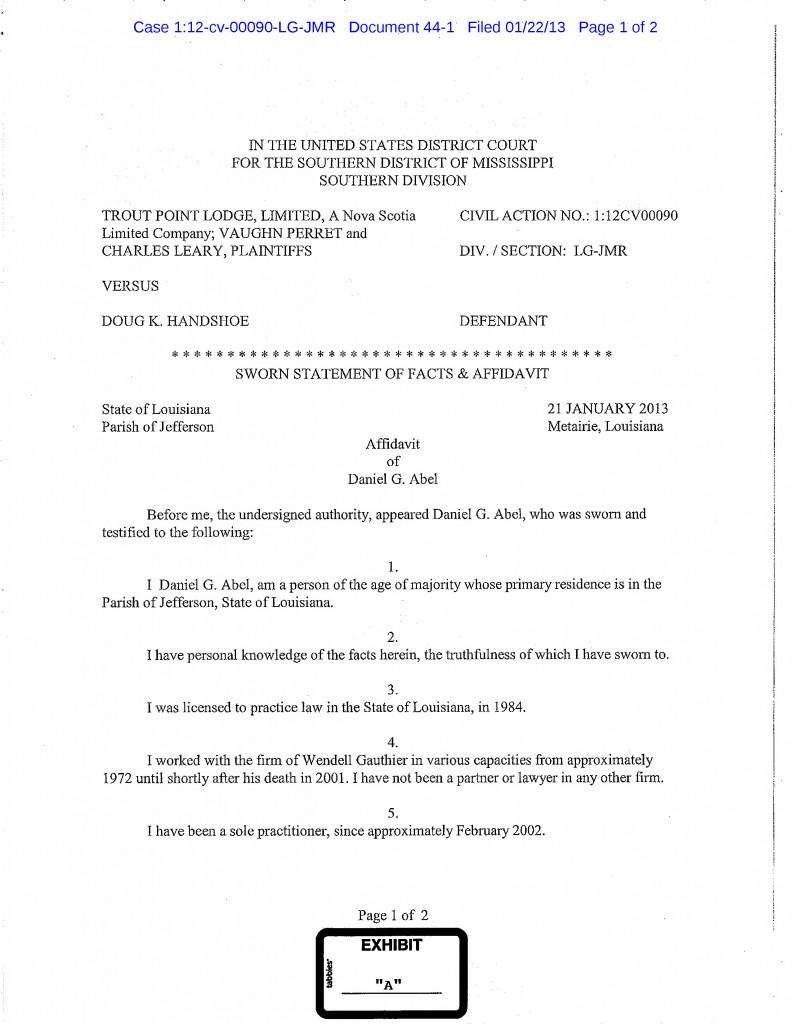 Affidavit of Danny Abel