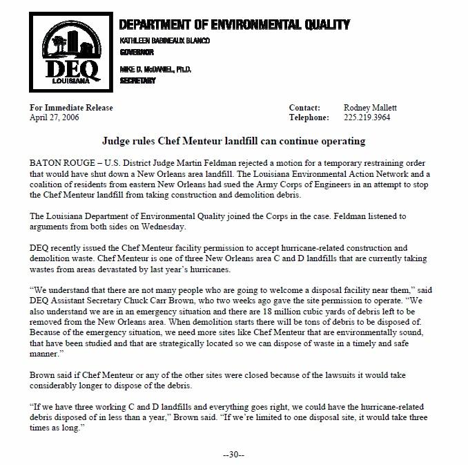 DEQ Press Release LEAN Lawsuit