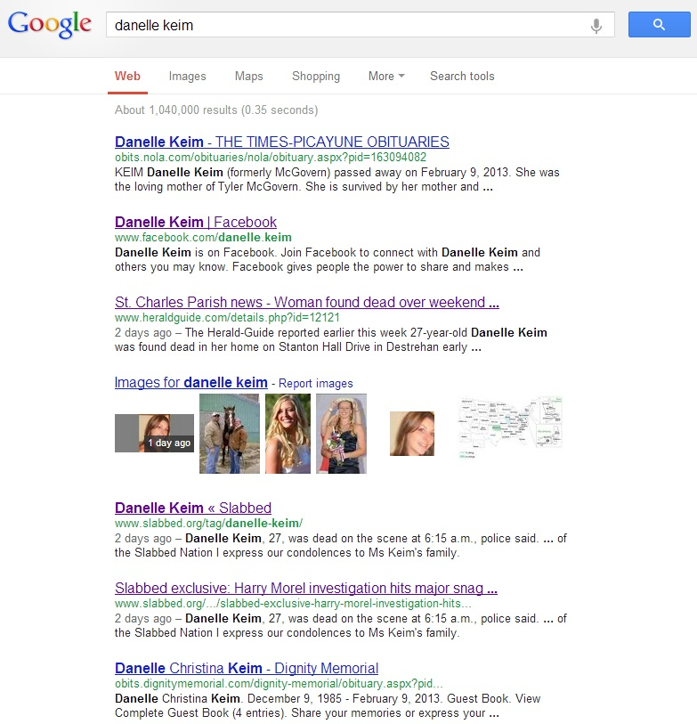 Google search screen capture