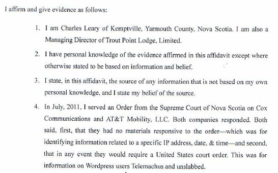 TPL v Fox 8 Affidavit of Charles Leary 10-7-11