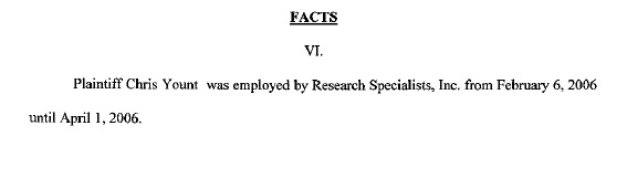 Yount v Research Specialists Excerpt 1