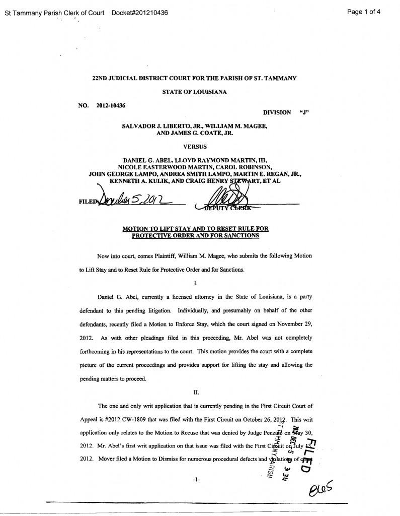 Magee v Abel Motion for Sanctions