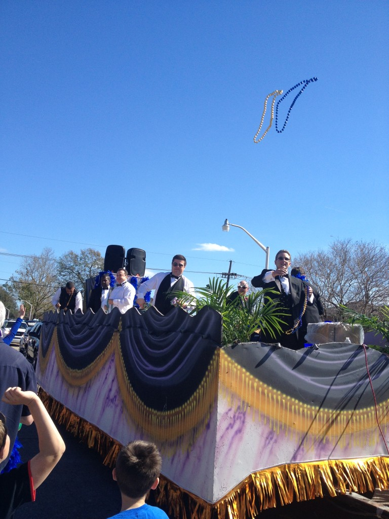 "Jefferson Parish councilmen Chris ""Mini-me"" Roberts, Mark Spears and Rickey Templett along with Lafitte Mayor Tim Kerner on the politicians float, Krewe of Alla. Reader submitted photo"