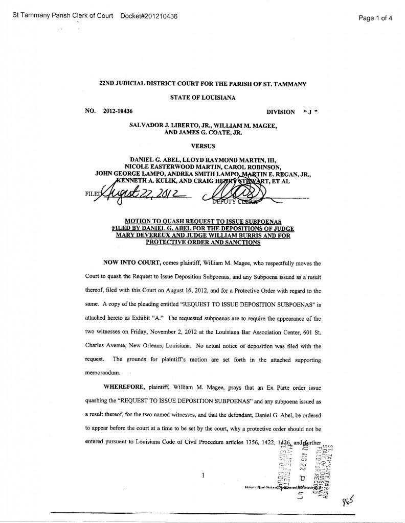 Motion to Quash Judge Subpoenas
