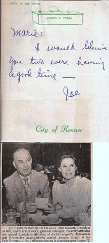 Reader submitted photo. Letter from the late Joe Yenni to Marie Krantz