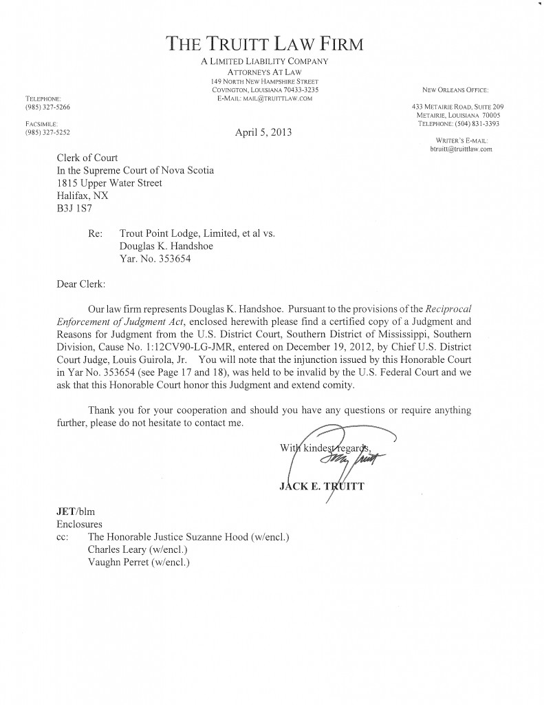 Nova Scotia Supreme Court letter