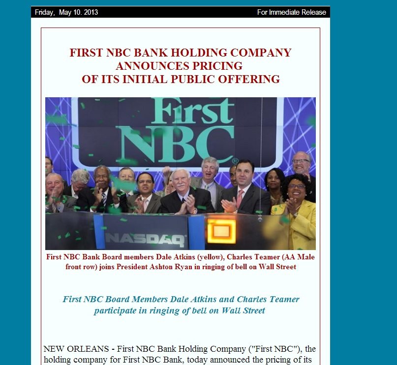 First NBC Bank Board members Dale Atkins_Charles Teamer participate in ringing of bell on Wall Street