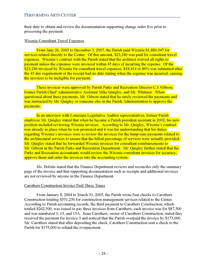 Page24 Louisiana Leg Auditor Compliance Audit on JPAC