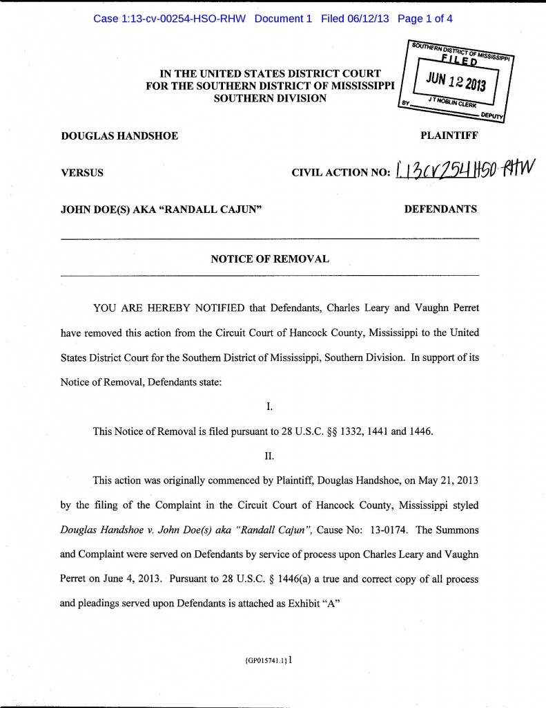 Handshoe v John Doe aka Randall Cajun removal