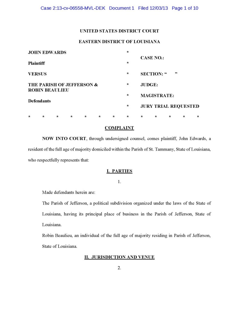 Edwards v Jefferson Parish Doc 1