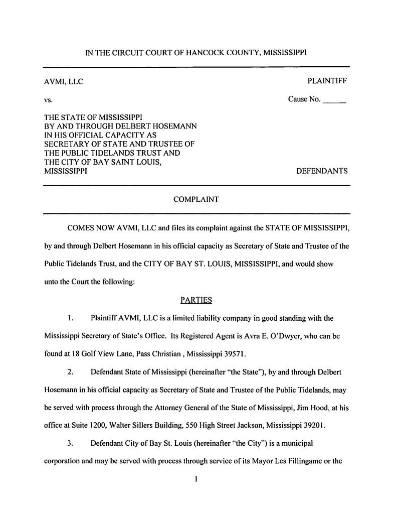 AVMI LLC v City of Bay St Louis Original Complaint
