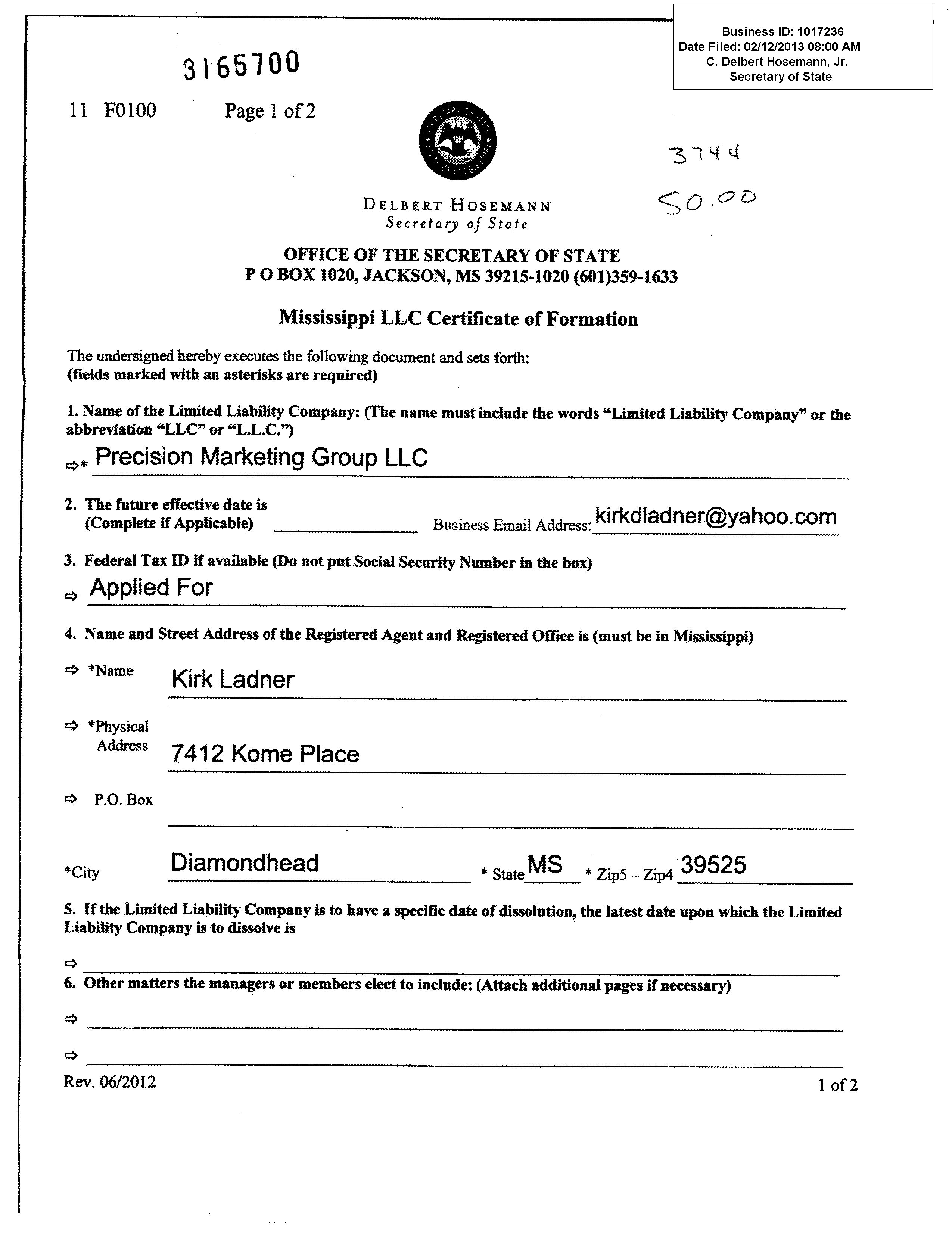Index of wp contentuploads201402 precision marketing group certificate of formationg xflitez Choice Image