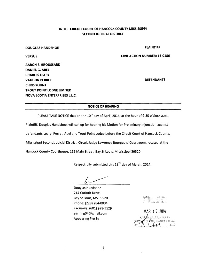 Handshoe v Broussard Notice of Hearing for Preliminary Injunction 4-10-14 r1