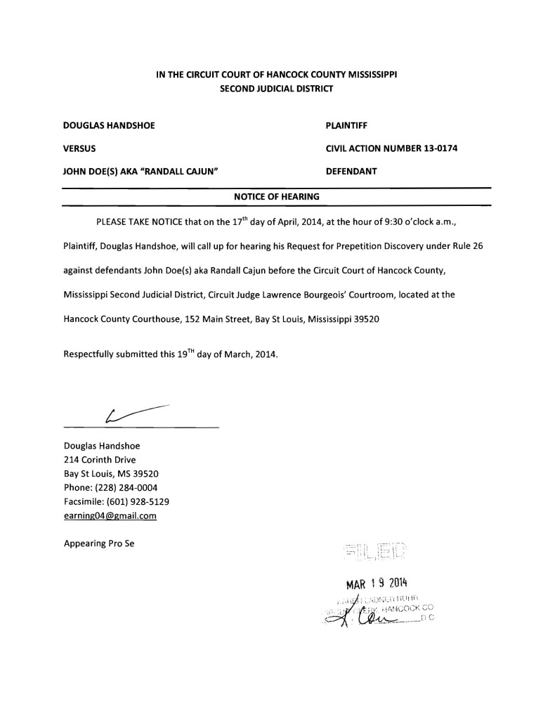 Handshoe v John Doe Notice of Hearing 4-17-14 r1