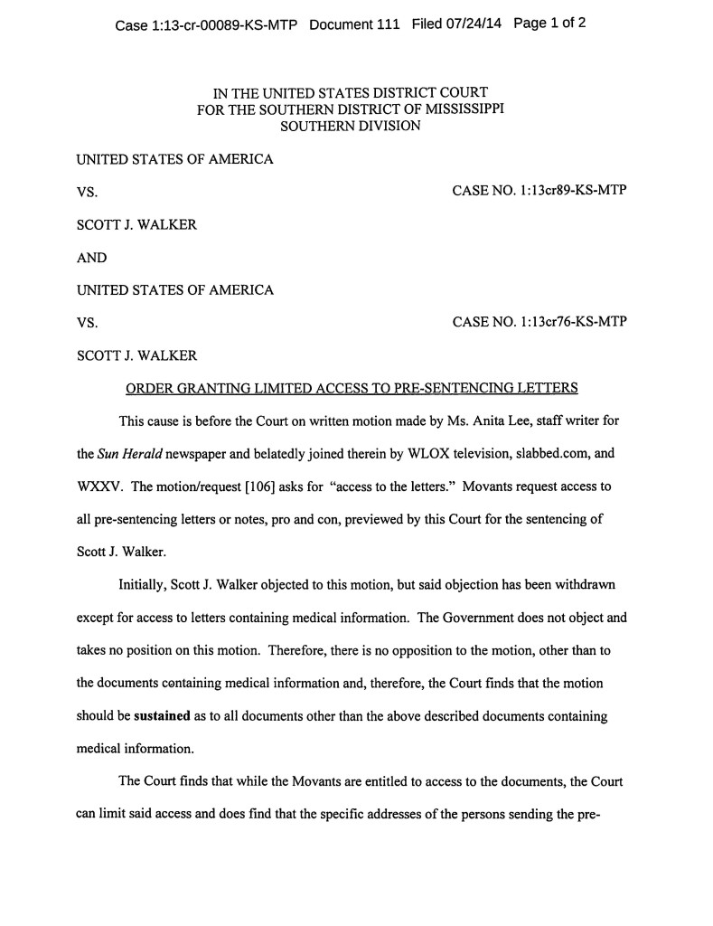USA v Walker Doc 111