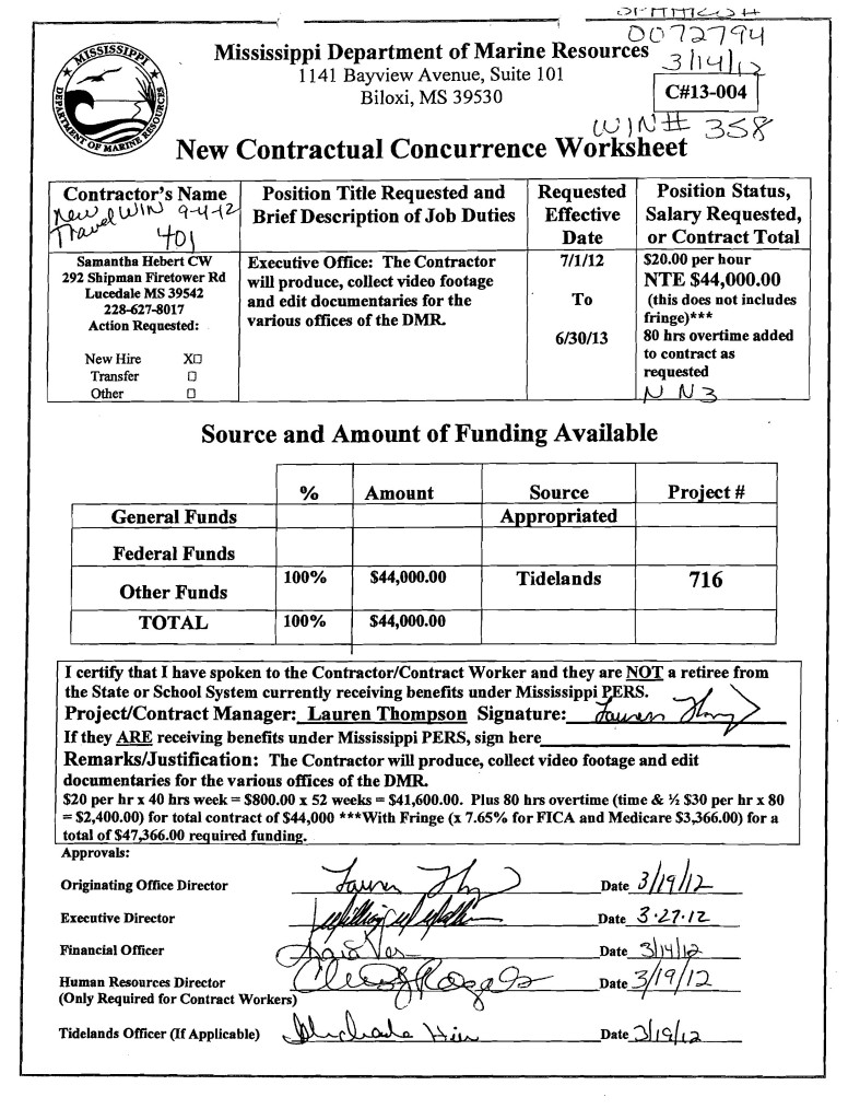 Samantha Hebert Contract Worksheet 2012-2013
