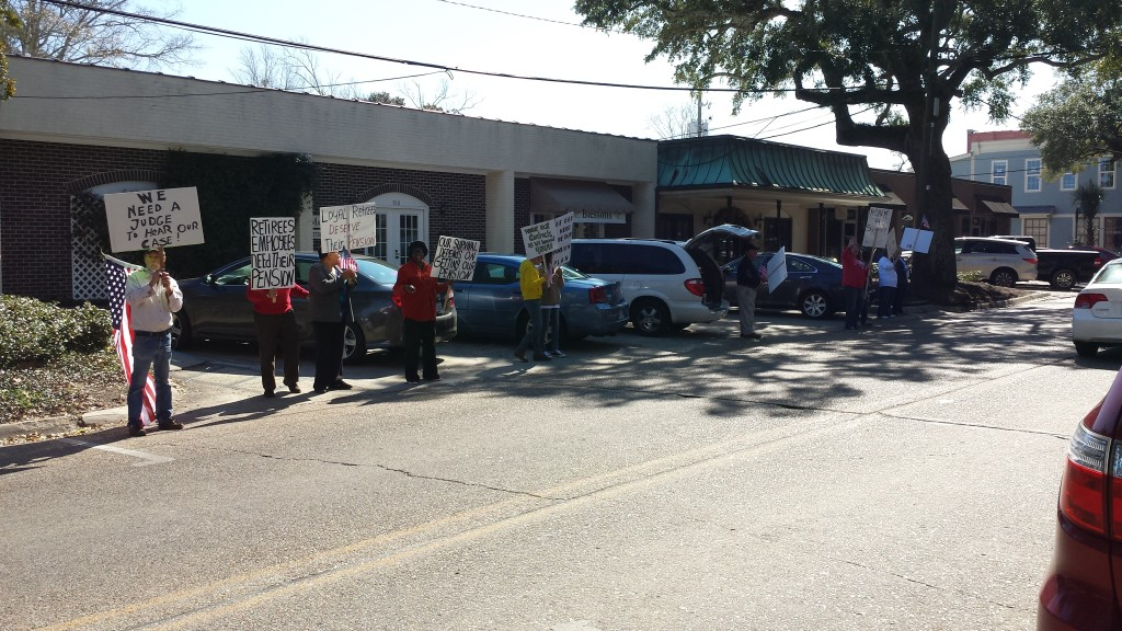 2/11/15 SRHS Retiree Protest in downtown Ocean Springs | Slabbed New Media LLC