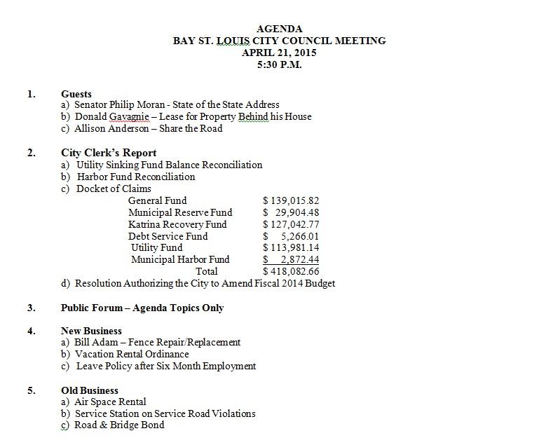 BSL Council Agenda 4-21-15