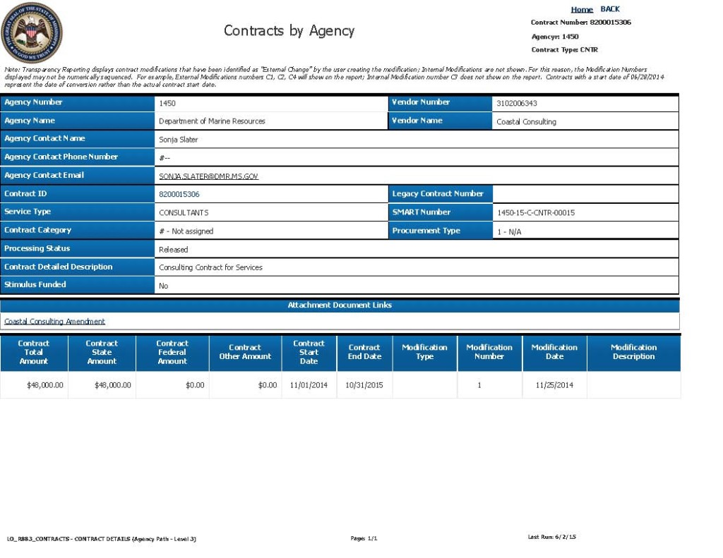Coastal Consulting DMR Tideland Trust Contracts. Source: Transparency Mississsippi. Click to view full size photo