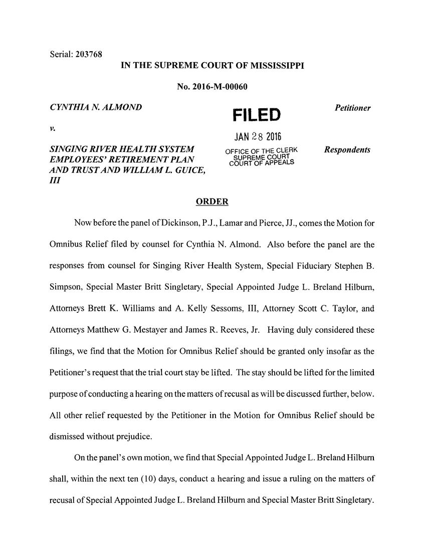 Click to obtain two page court order from the Mississippi Supreme Court