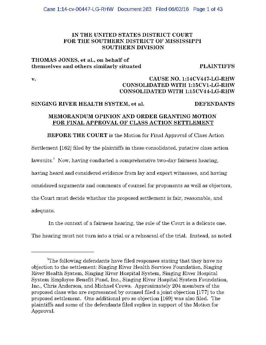 SRHS Settlement Order