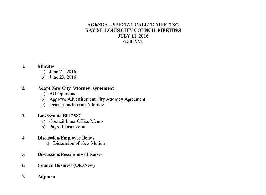 Agenda Courtesy of the Clerk of the Bay St Louis Council