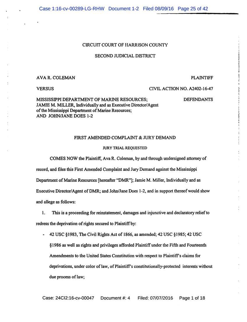 Coleman v State of Mississippi Doc 1