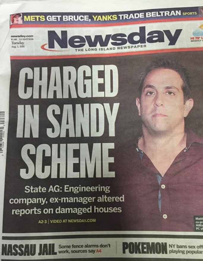 Newsday Front Page Courtesy of a Reader