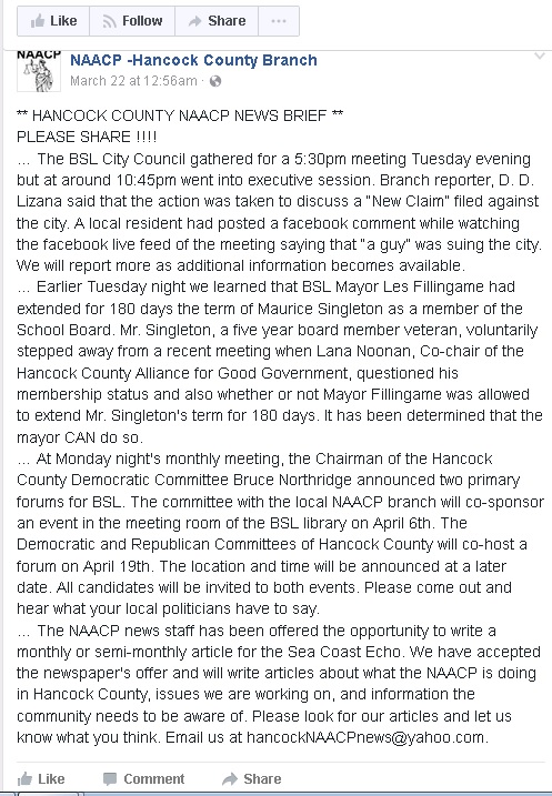 Facebook Screen Capture of Hancock NAACP shillin' for Mayor Les Fillingame