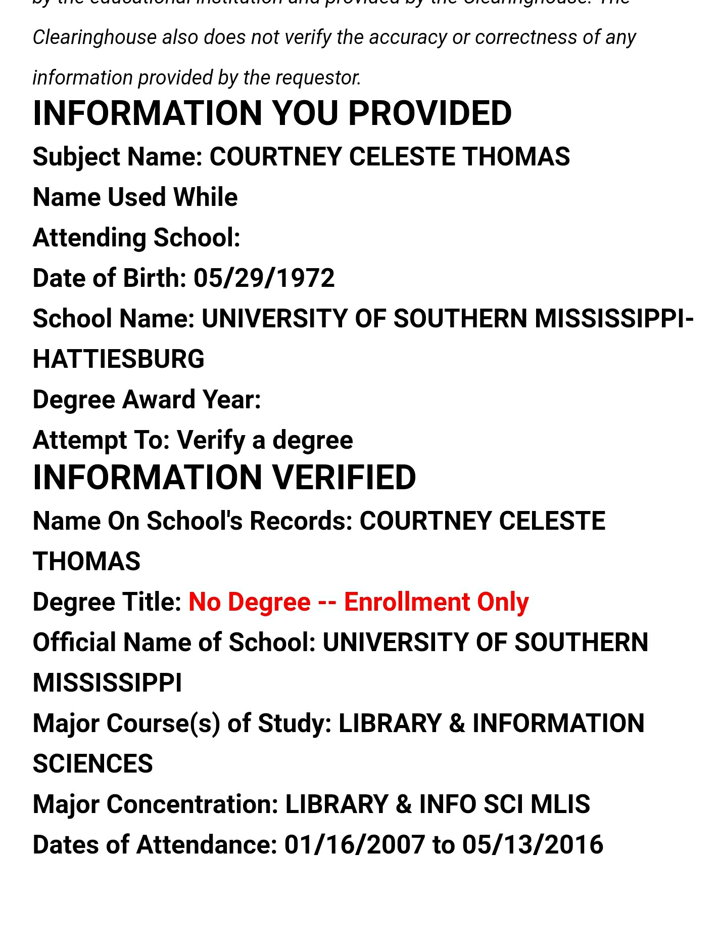 Screen Capture of National Student Clearinghouse Return for Executive Director Courtney Thomas