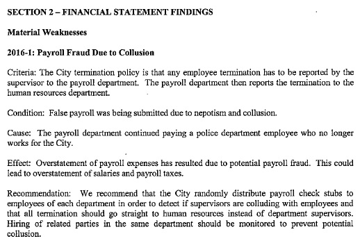 Excerpt from City of Bay St Louis draft 2016 audit.