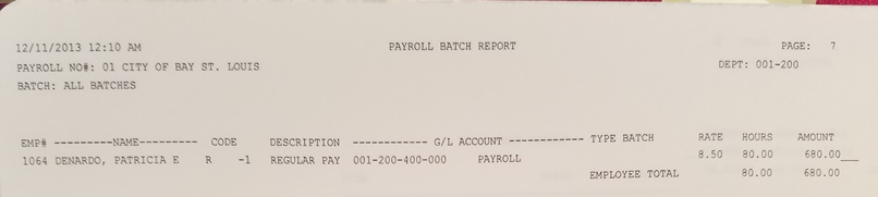 Source: Bay St Louis Council Minutes 12.11.2013 Payroll